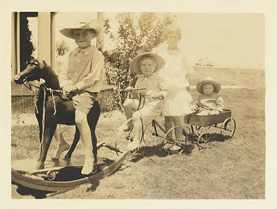 Photograph - Child's Play Wagon Train by Paul Ashby Antique Images