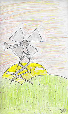 Photograph - Child's Windmill Drawing by Karlie White