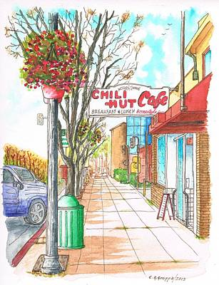 Chili Hut Cafe In Main Street, Santa Paula, California Print by Carlos G Groppa