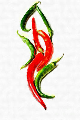 Chili Papers Of Various Shapes Painting Art Print by Magomed Magomedagaev