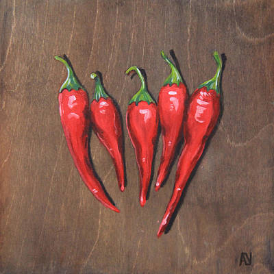 Chili Peppers Original by Aubrey Verzyden