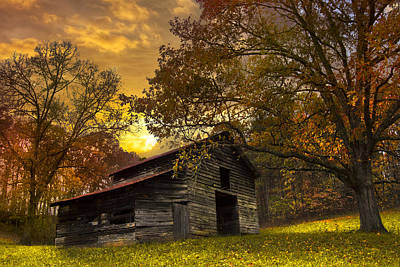 Barn In Woods Photograph - Chill Of An Early Fall by Debra and Dave Vanderlaan
