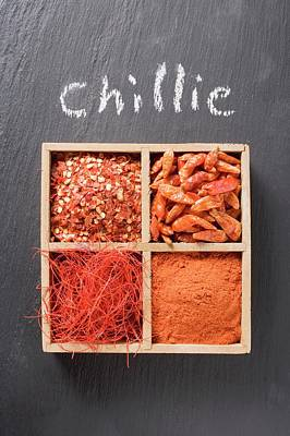 Spice Box Photograph - Chilli Flakes, Chillies, Chilli Powder, Chilli Threads In Type Case by Eising Studio - Food Photo and Video