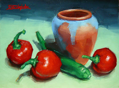 Painting - Chilli Peppers And Pot by Margaret Stockdale