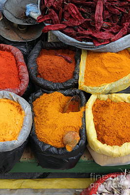 Bright Colours Photograph - Chilli Powders 3 by James Brunker