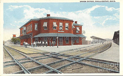 Chillicothe Ohio Railroad Depot Postcard Art Print