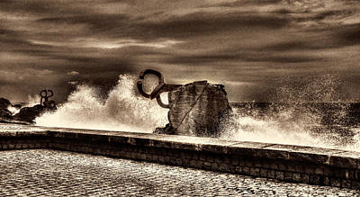 Photograph - Chillidas Comb Of The Wind In San Sebastian Basque Country Spain Sepia Version by Weston Westmoreland