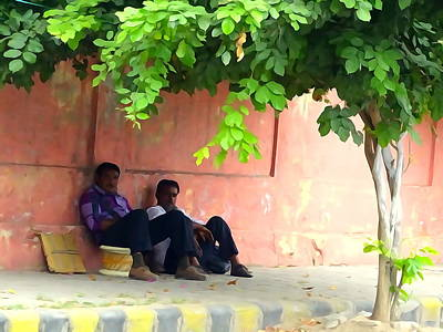 Moda Photograph - Chilling By The Roadside In Jaipur Rajasthan India by Sue Jacobi