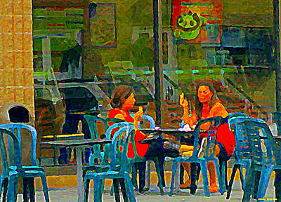Montreal Street Life Painting - Chilling Out With Ice Cream Cones Baskin Robbins  Hot Town Summer In The City Scenes Carole Spandau by Carole Spandau