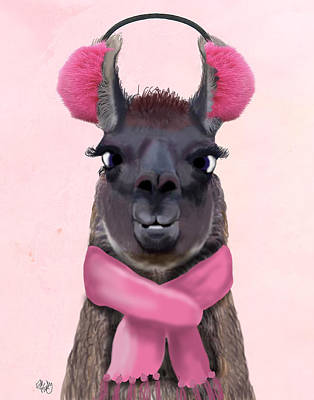 Llama Digital Art - Chilly Llama Pink by Kelly McLaughlan