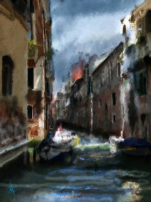 Mixed Media - Chilly Night In Venice by Russell Pierce