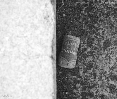 Chimay Wine Cork In Black And White Print by Rob Hans