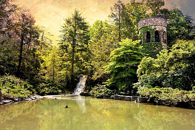 Photograph - Chimes Tower And Waterfall by Trina  Ansel