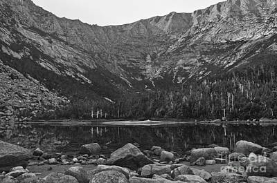 Photograph - Chimney Pond Baxter State Park Black And White by Glenn Gordon