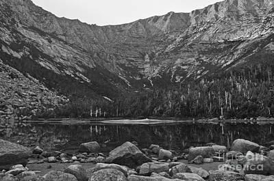 Photograph - Chimney Pond Baxter State Park Black And White by Glenn Gordon