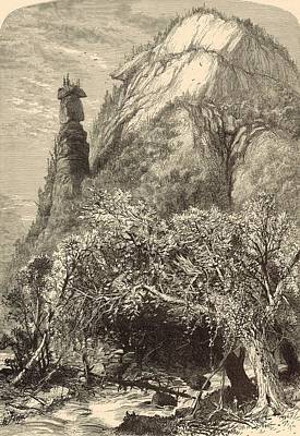 Chimney Rock North Carolina Painting - Chimney Rock At Hickory-nut Gap 1872 Engraving by Antique Engravings