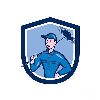 Sweeps Digital Art - Chimney Sweep Worker Shield Cartoon by Aloysius Patrimonio