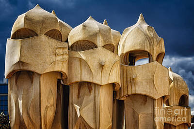 Antoni Gaudi Wall Art - Photograph - Chimneys Of La Pedrera by George Oze