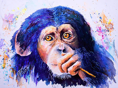 Chimpanzee Painting - Chimongo by Carrie McKenzie