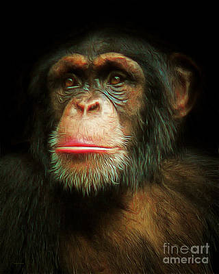 Biological Digital Art - Chimp 20150210brun by Wingsdomain Art and Photography