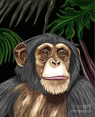 Chimp Print by Karen Sheltrown