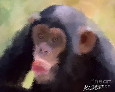 Cute Monkey Drawing - Chimp With The Nana by Karen Larter