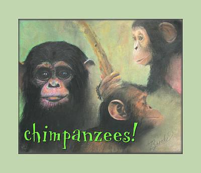 Art Print featuring the pastel Chimpanzees - Art 4 Kids by Brooks Garten Hauschild