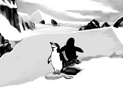 Chin Strap Penguins Art Print