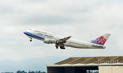 China Arlines 747 Lifts Off From Lax Art Print