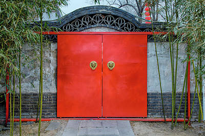 China Town Photograph - China, Beijing, Large Red Door Entry by Terry Eggers
