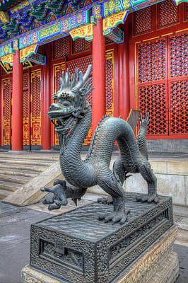 China Town Photograph - China, Beijing, Statue At Entrance by Terry Eggers
