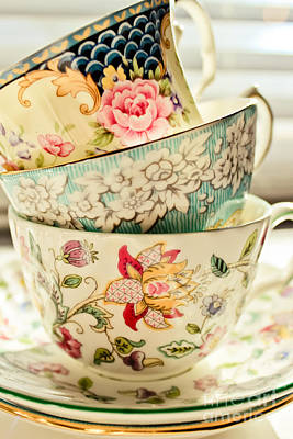 Tea Time Photograph - China Cups by Colleen Kammerer