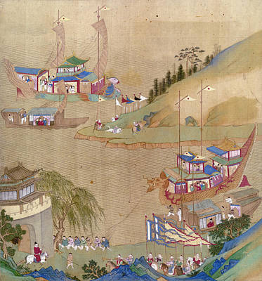Painting - China Emperor And Boats by Granger