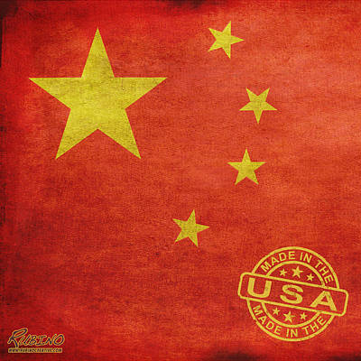 Painting - China Flag Made In The Usa by Tony Rubino