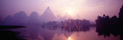 Wetlands Photograph - China, Guilin, Fishermen by Panoramic Images