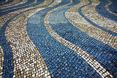 China Town Photograph - China, Macau, Tile Designs In Sidewalk by Terry Eggers