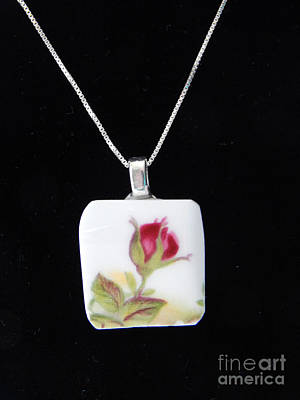 Glass Art - China Rose Pendant by Patricia  Tierney