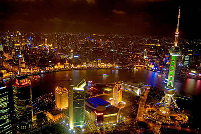 Illuminated Photograph - China Shanghai At Night  by Anonymous