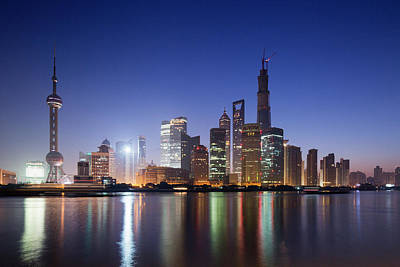 China, Shanghai, Glow Of Twilight Art Print by Paul Souders