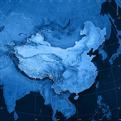 China Topographic Map Art Print
