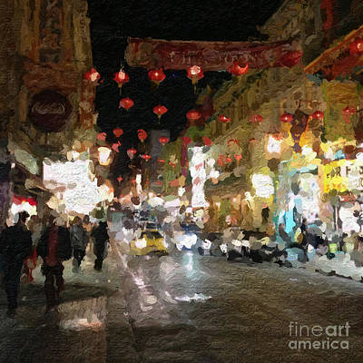 Impressionism Mixed Media - China Town At Night by Linda Woods