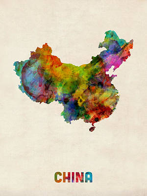 China Watercolor Map Art Print