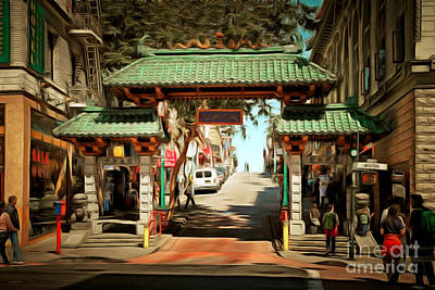 Bay Area Digital Art - Chinatown Gate On Grant Avenue In San Francisco 7d7193brun by Wingsdomain Art and Photography
