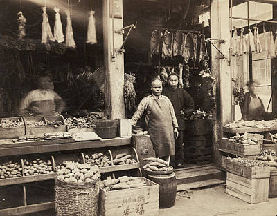 Hanging Basket Photograph - Chinatown Grocery Store by Underwood Archives