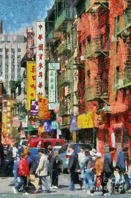 Chinese Market Painting - Chinatown In New York by George Atsametakis