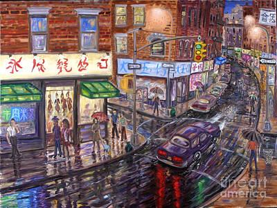 Mott Street Painting - Chinatown In The Rain by Arthur Robins