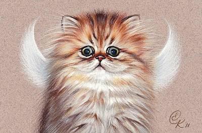Drawing - Chinchilla Kitten Angel by Elena Kolotusha