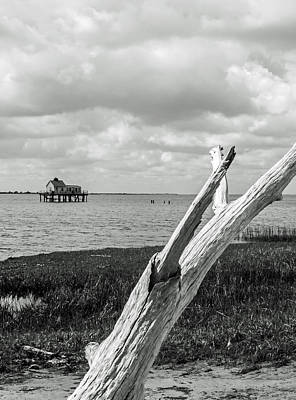 Chincoteague Oystershack Bw Vertical Art Print by Photographic Arts And Design Studio