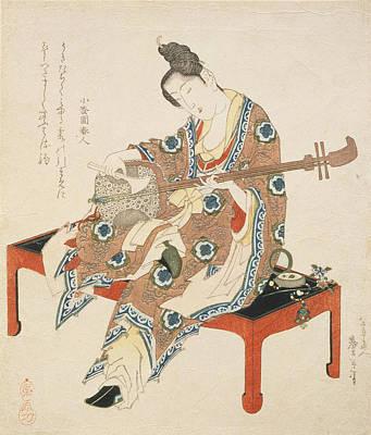 Lute Painting - Chinese Beauty Playing The Shamisen by Katsushika II Taito