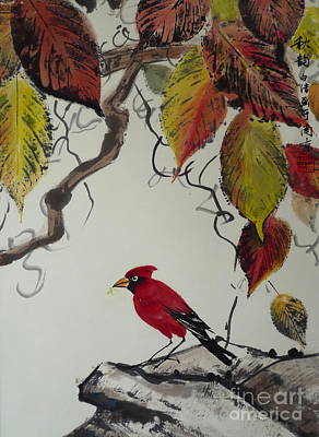 Fauna Painting - Chinese Bird In Autumn by Birgit Moldenhauer
